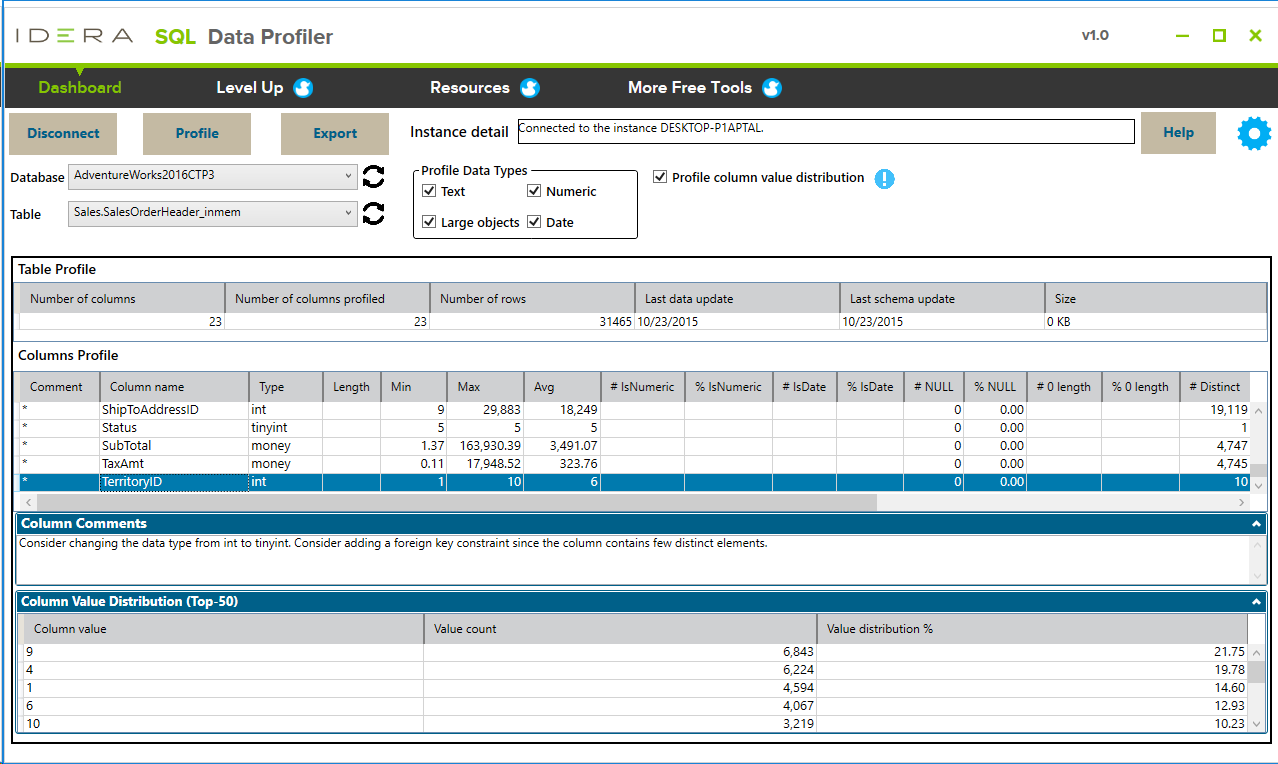 SQL Data Profiler Screen shot