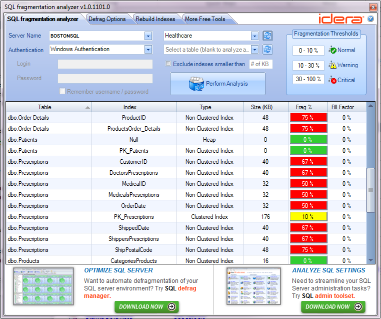 Click to view SQL Fragmentation Analyzer screenshots