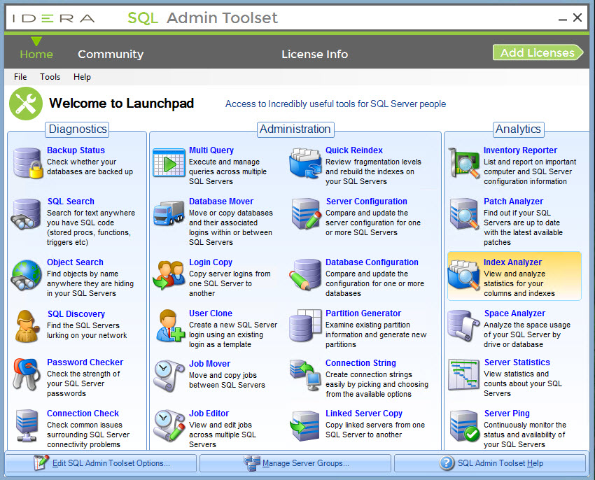 SQL Admin Toolset contains incredibly useful tools for server people.